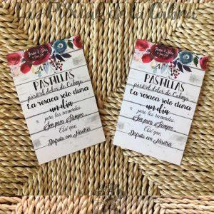 Tarjetas de kit de resaca para bodas con flores y madera