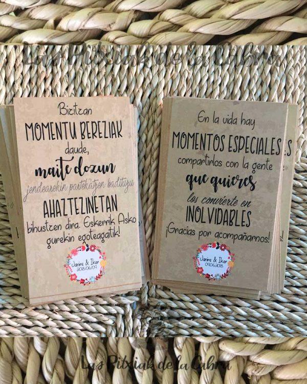 Tarjetas en euskera y castellano para bodas