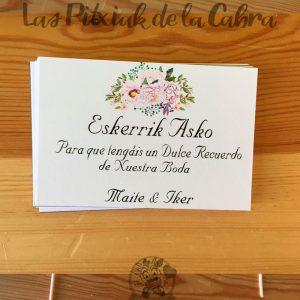 Tarjetas eskerrik asko para bodas