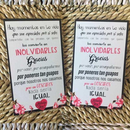 Tarjeta para boda con texto de agradecimiento rosa