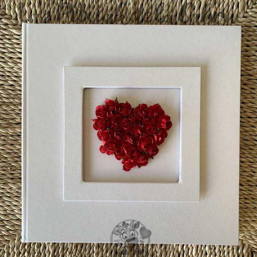 Libro de firmas para boda corazón rojo de flores