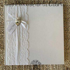 Libro de firmas para boda encaje blanco guest book