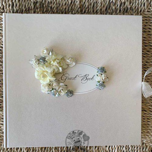 Libro de firmas para boda guest book flores azules