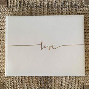 Libro de firmas para boda love color oro