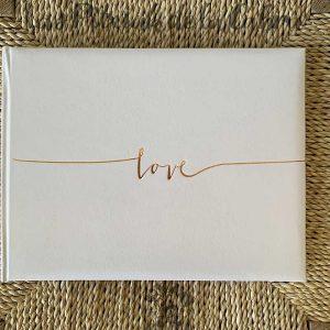 Libro de firmas para boda love oro rosa
