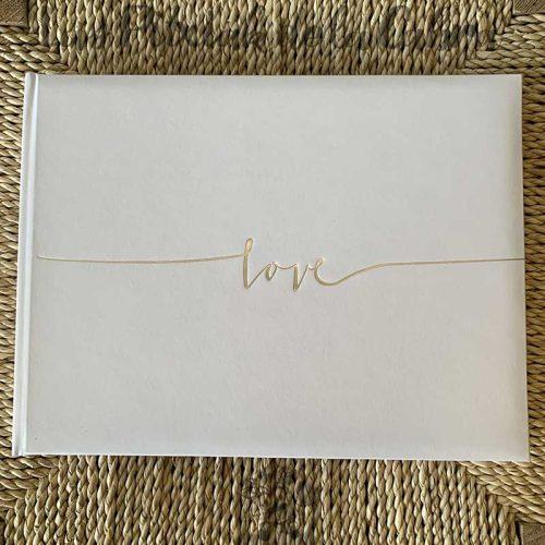 Libro de firmas para boda love plata