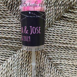 Pop up de confeti para bodas con confeti rosa