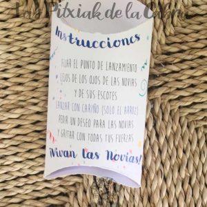 Cajitas de arroz para bodas con instrucciones para novias