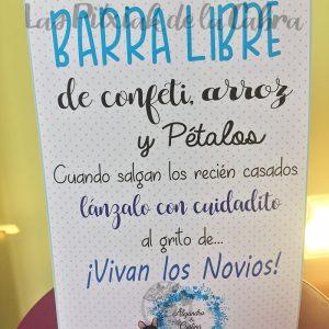 Cartel para bodas barra libre azul