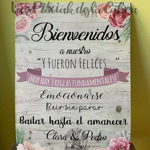 Cartel de bienvenidos a nuestra boda y fueron felices