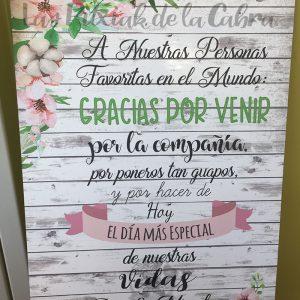 Cartel para bienvenida de bodas gracias por venir