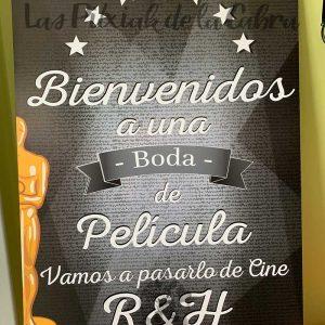 Cartel de Bienvenidos a una boda de cine