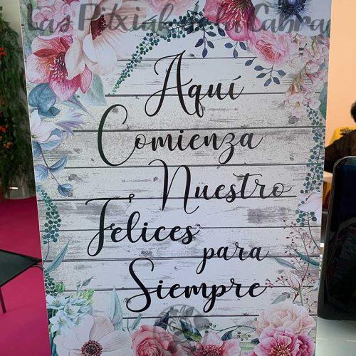 Cartel bienvenidos aquí comienza nuestro felices para siempre