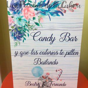 Cartel para bodas candy bar acuarela azul