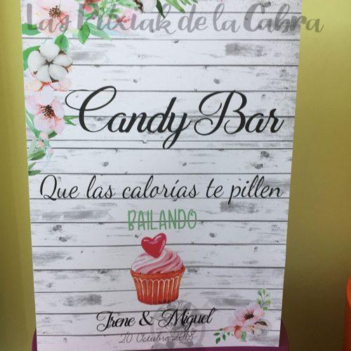 Cartel para candy bar con algodón