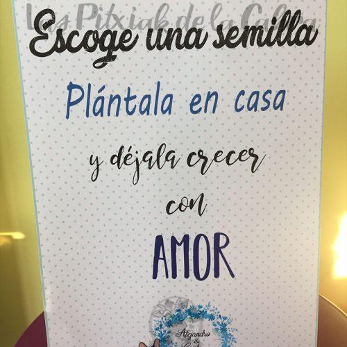 Cartel para bodas detalle de plantas
