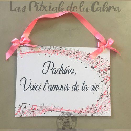 Cartel para bodas en gallego con notas musicales