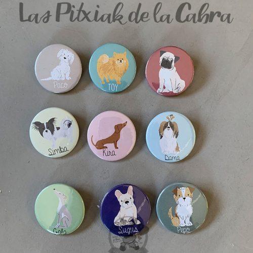Chapas para detalles de boda colección razas de perros