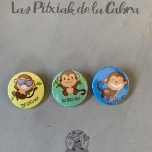 Chapas para detalles de boda coleción monos