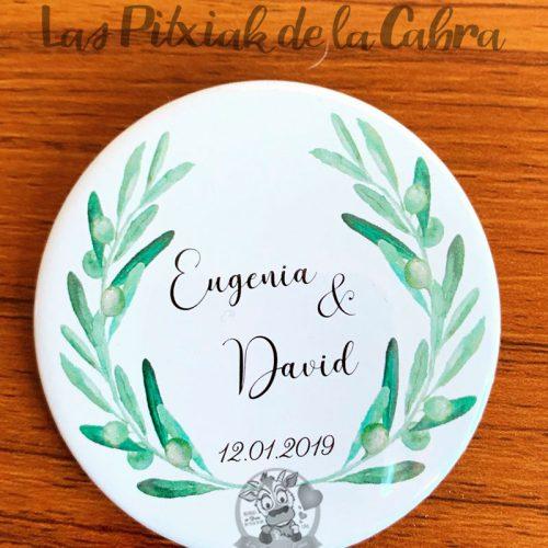 Chapas para detalles de boda olivo logo novios