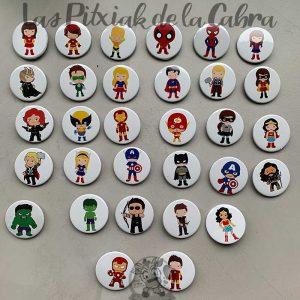 Chapas para detalles de boda super heroes y super heroinas