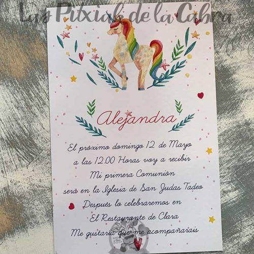 Recordatorio de comunión para niña con unicornio arcoiris