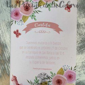 Invitación de flores para bautizo con biberón