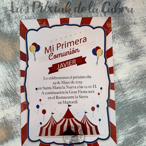 Recordatorio de comunión invitación circo