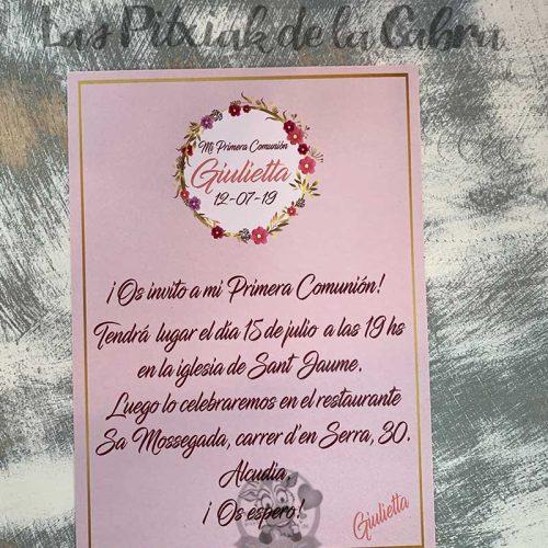 Recordatorio de comunión con invitación de niña rosa