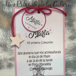 Recordatorio de comunión invitación con marco rosa