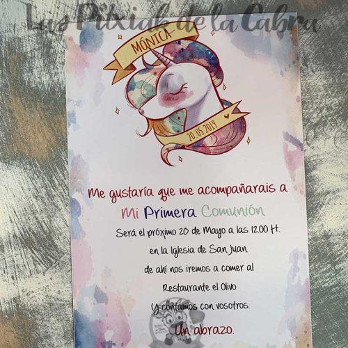 Invitación de comunión con unicornio de colores