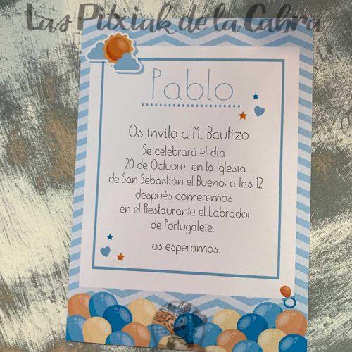 Invitación de bautizo con globos