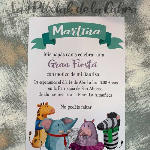 Invitación de bautizo zoo
