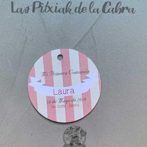 Etiqueta para comunión de rayas rosa y blanco