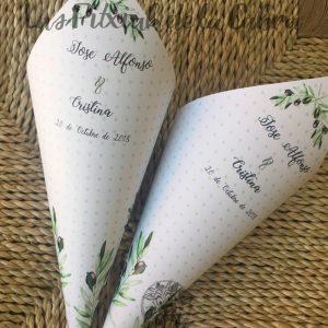 Conos para pétalos de boda olivo