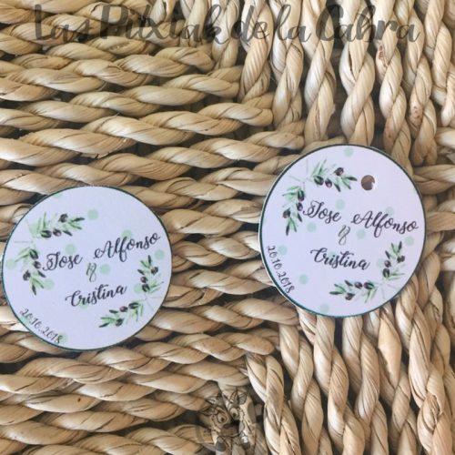 Etiquetas para detalles de boda con aceitunas olivo