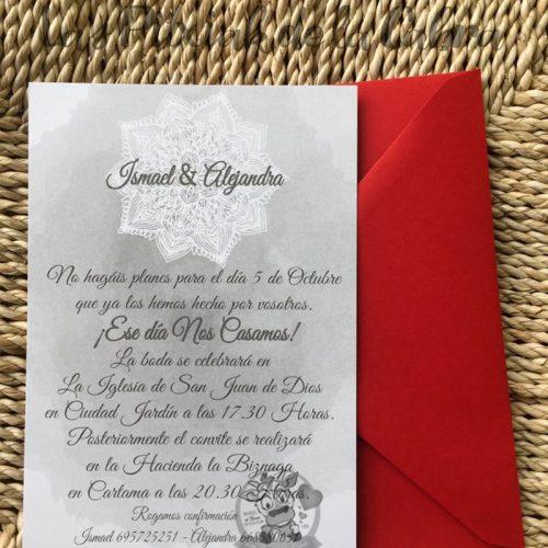 Invitación de boda con diseño de mandala