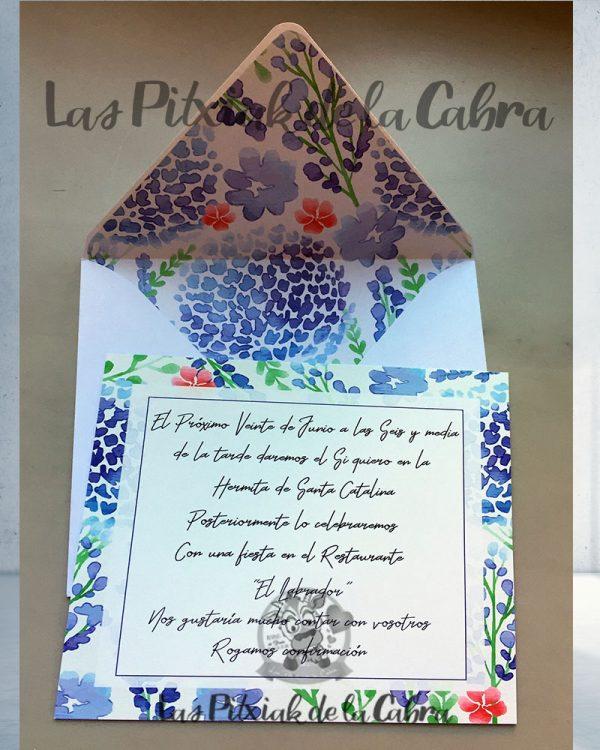 Invitaciones de boda azules y rojas