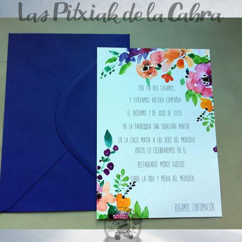 Invitaciones de boda con muchas flores de colores