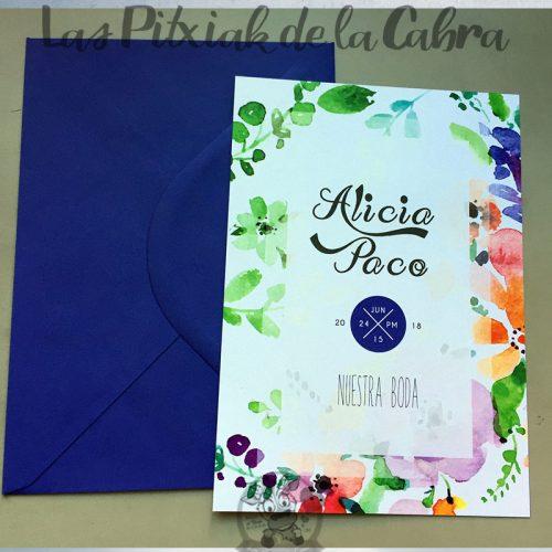 Invitaciones de boda con flores de colores