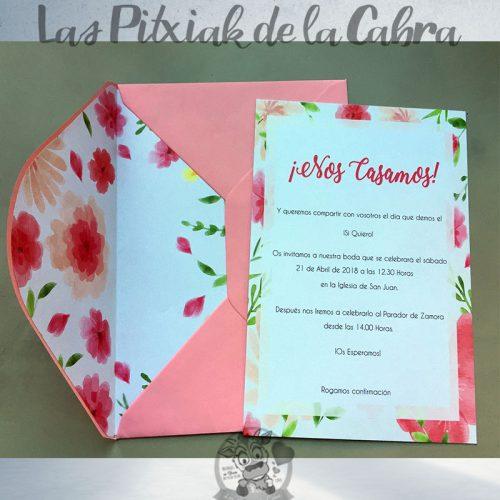 Invitaciones de boda flores rosas y salmón