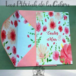 Invitaciones de boda flores rosas y salmón con sobre forrado