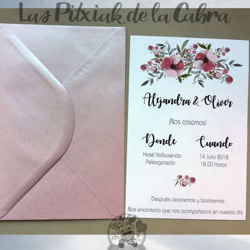 Invitaciones de boda flores moradas