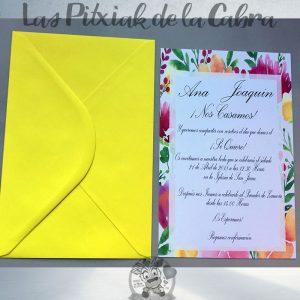 Invitaciones de boda flores de colores
