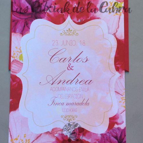 Invitaciones de boda flores rojas