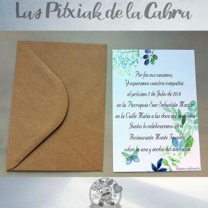 Invitaciones de boda flores y plantas