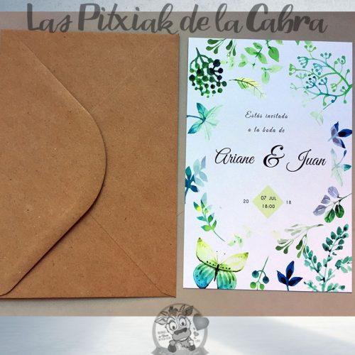 Invitaciones de boda plantas y flores