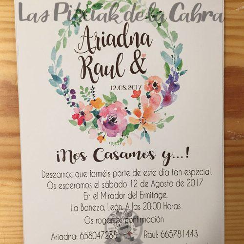 Invitaciones de boda con corona de flores acuarela