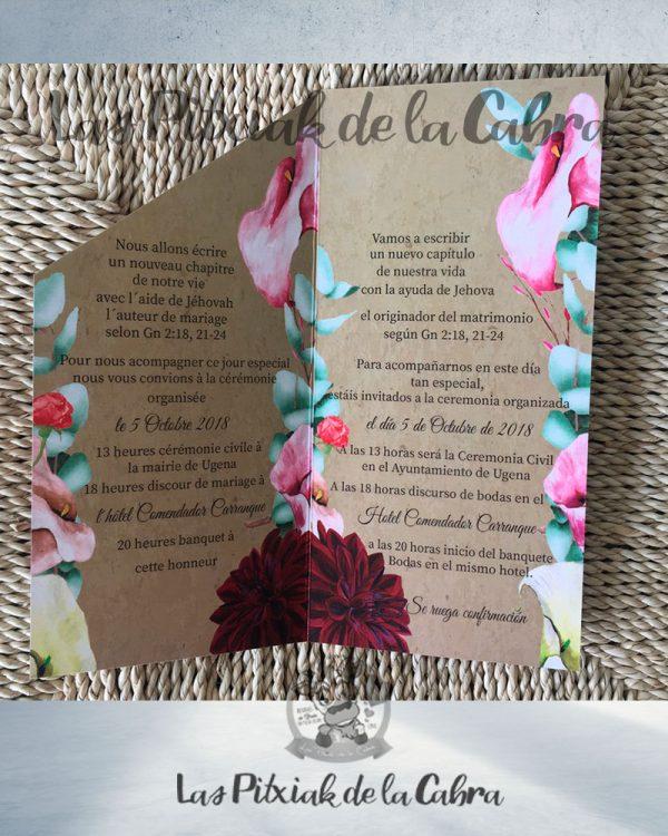 Invitación de boda con plantas en español y francés