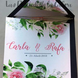 Invitaciones de boda rosas y peonías